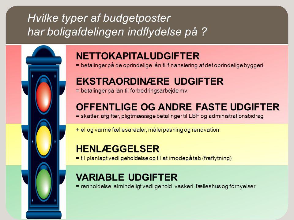 Hvilke typer af budgetposter har boligafdelingen indflydelse på