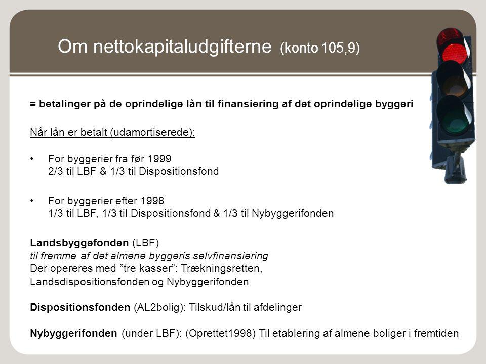 Om nettokapitaludgifterne (konto 105,9)