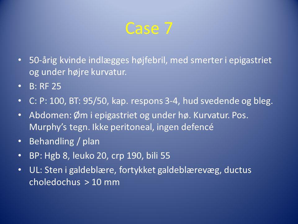 Case 7 50-årig kvinde indlægges højfebril, med smerter i epigastriet og under højre kurvatur. B: RF 25.