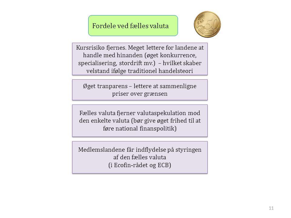 Fordele ved fælles valuta