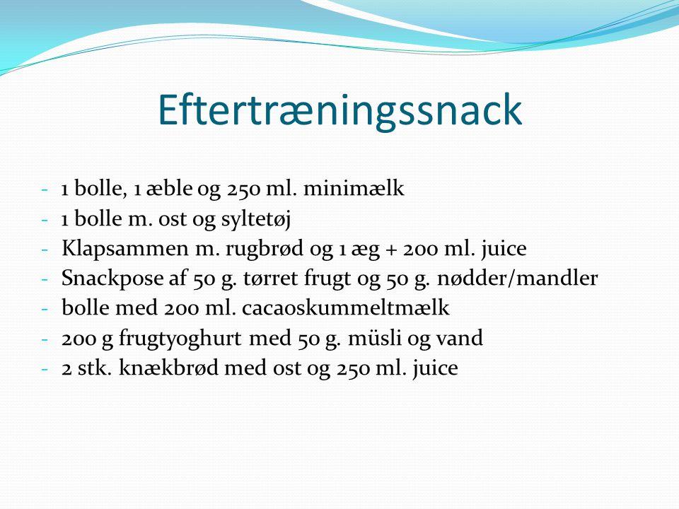 Eftertræningssnack 1 bolle, 1 æble og 250 ml. minimælk