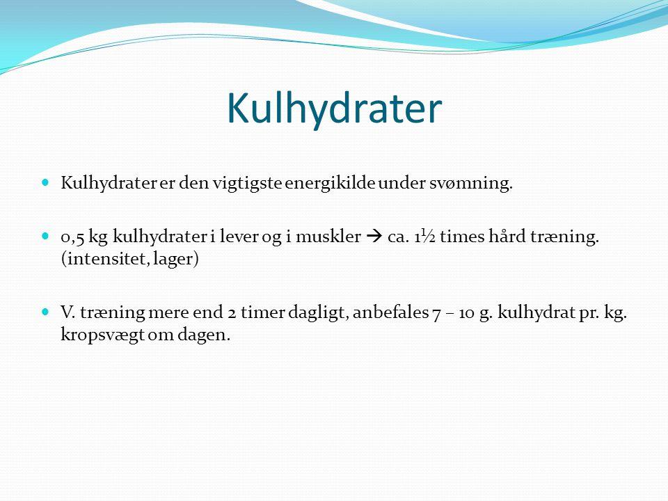 Kulhydrater Kulhydrater er den vigtigste energikilde under svømning.
