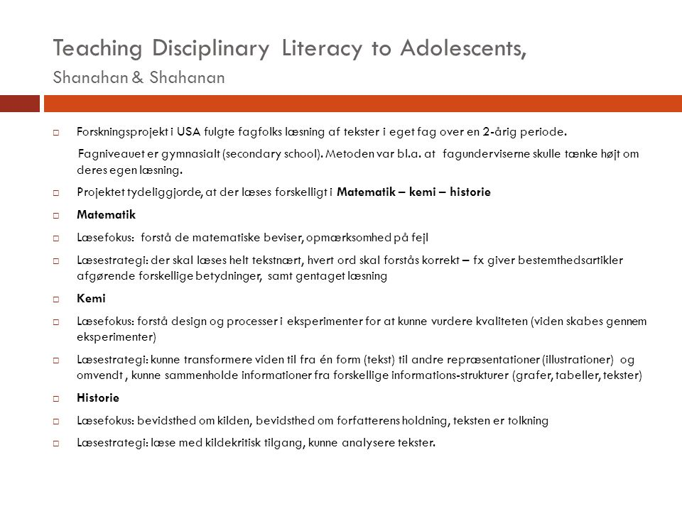 Teaching Disciplinary Literacy to Adolescents, Shanahan & Shahanan