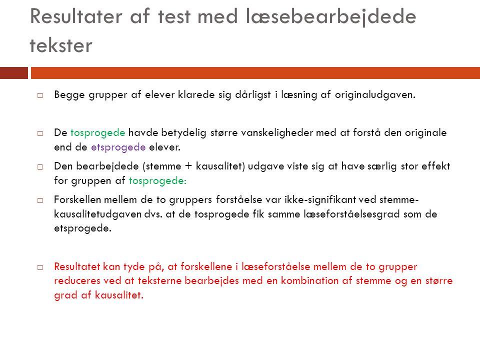 Resultater af test med læsebearbejdede tekster