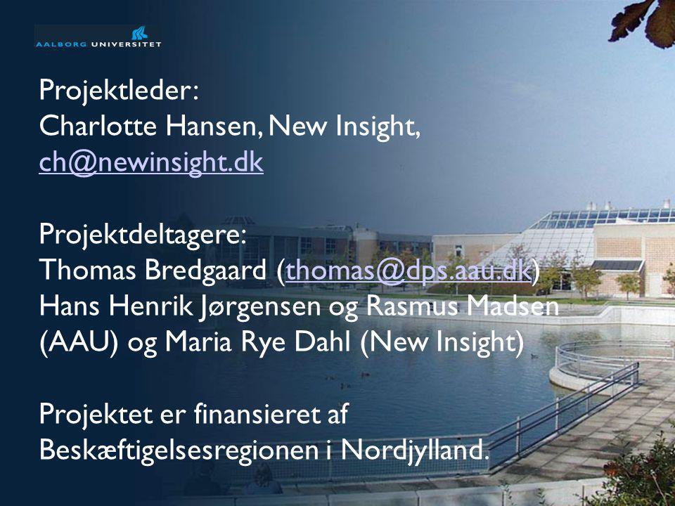 Projektleder: Charlotte Hansen, New Insight, ch@newinsight.dk. Projektdeltagere: Thomas Bredgaard (thomas@dps.aau.dk)