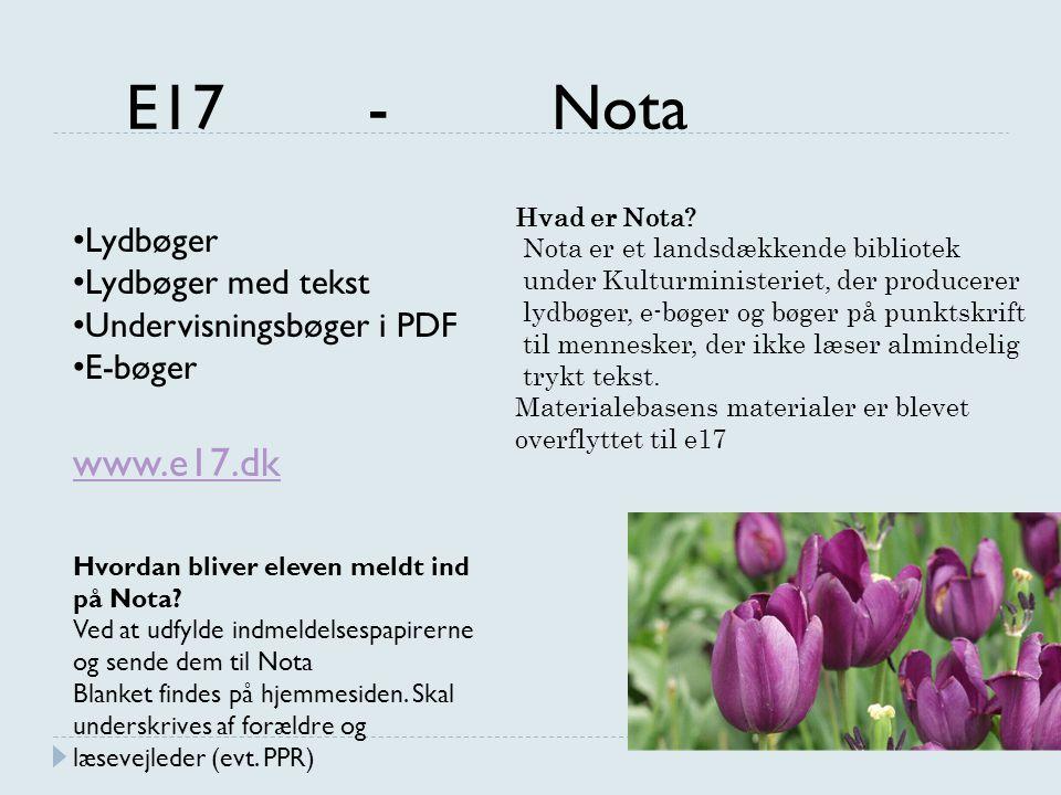 E17 - Nota www.e17.dk Lydbøger Lydbøger med tekst
