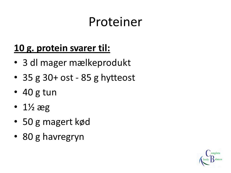 Proteiner 10 g. protein svarer til: 3 dl mager mælkeprodukt