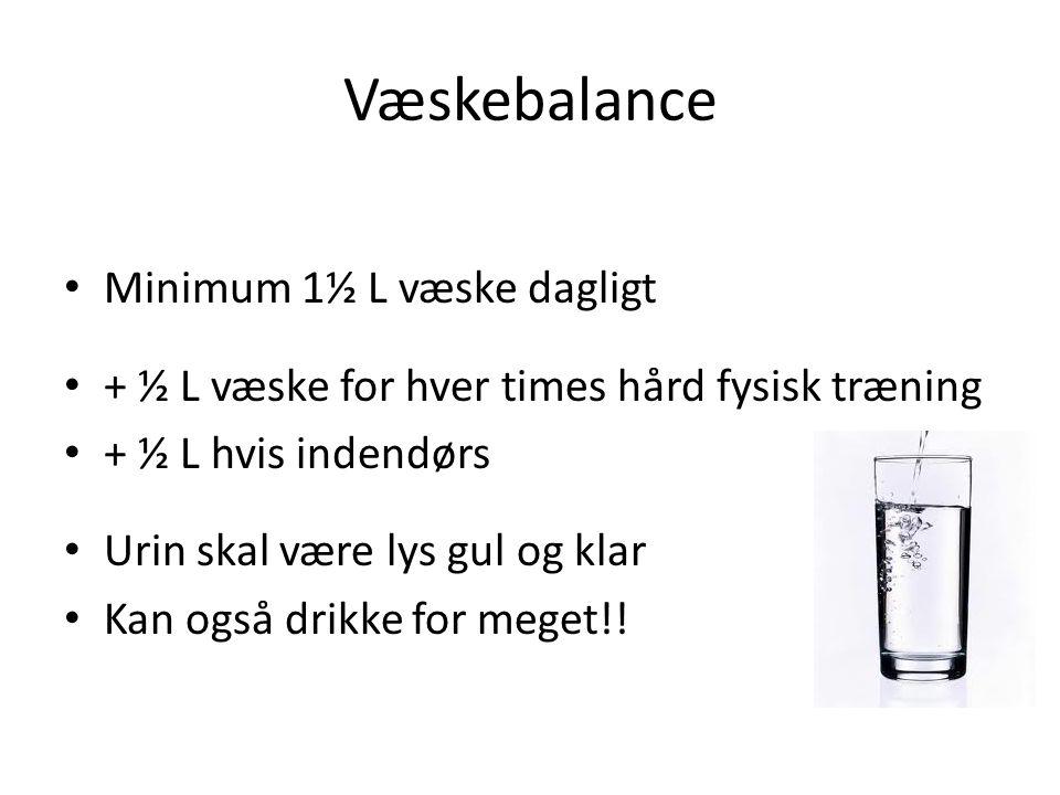 Væskebalance Minimum 1½ L væske dagligt
