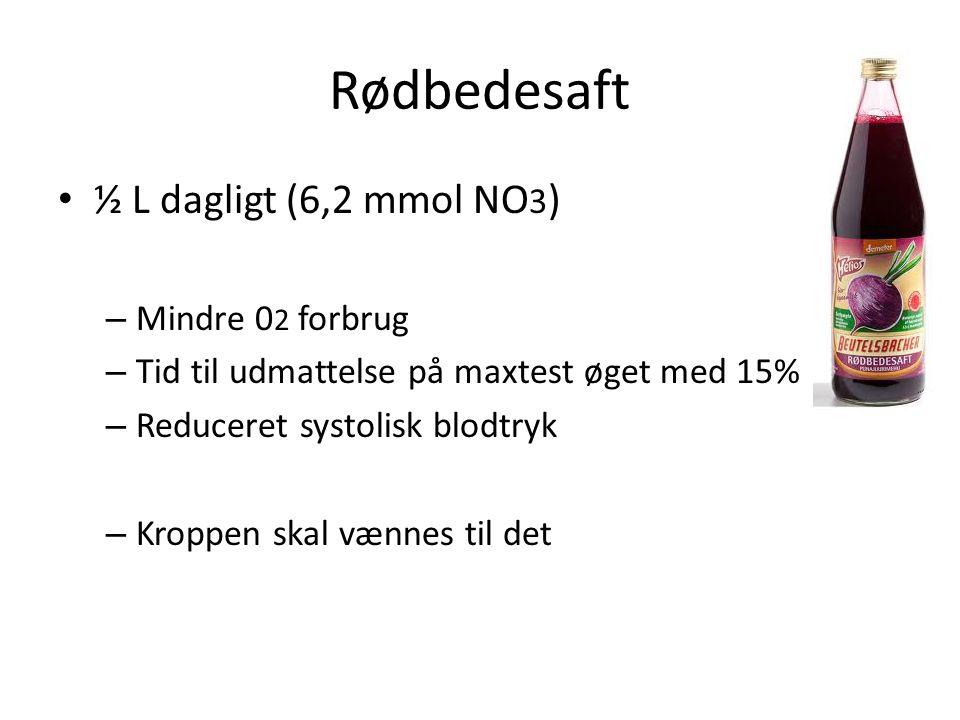 Rødbedesaft ½ L dagligt (6,2 mmol NO3) Mindre 02 forbrug