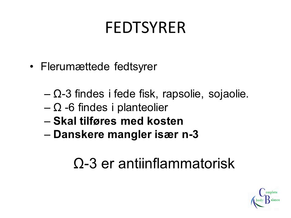 Ω-3 er antiinflammatorisk