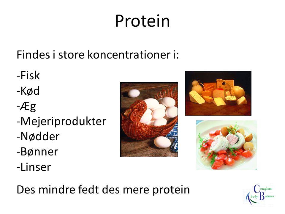Protein Findes i store koncentrationer i: Fisk Kød Æg Mejeriprodukter