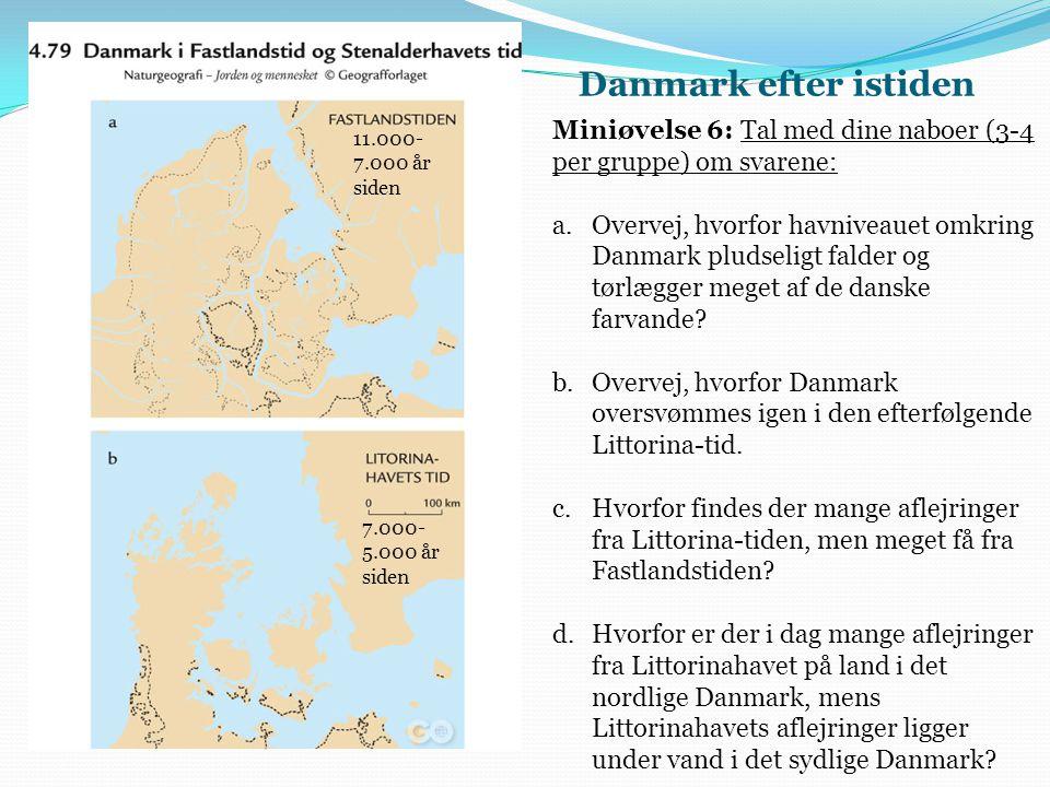 Danmark efter istiden Miniøvelse 6: Tal med dine naboer (3-4 per gruppe) om svarene: