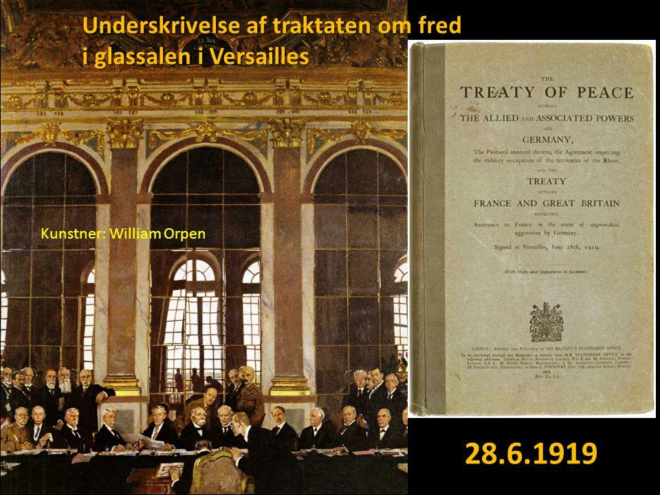 28.6.1919 Underskrivelse af traktaten om fred i glassalen i Versailles