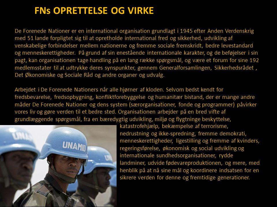 FNs OPRETTELSE OG VIRKE