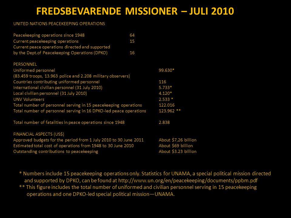 FREDSBEVARENDE MISSIONER – JULI 2010