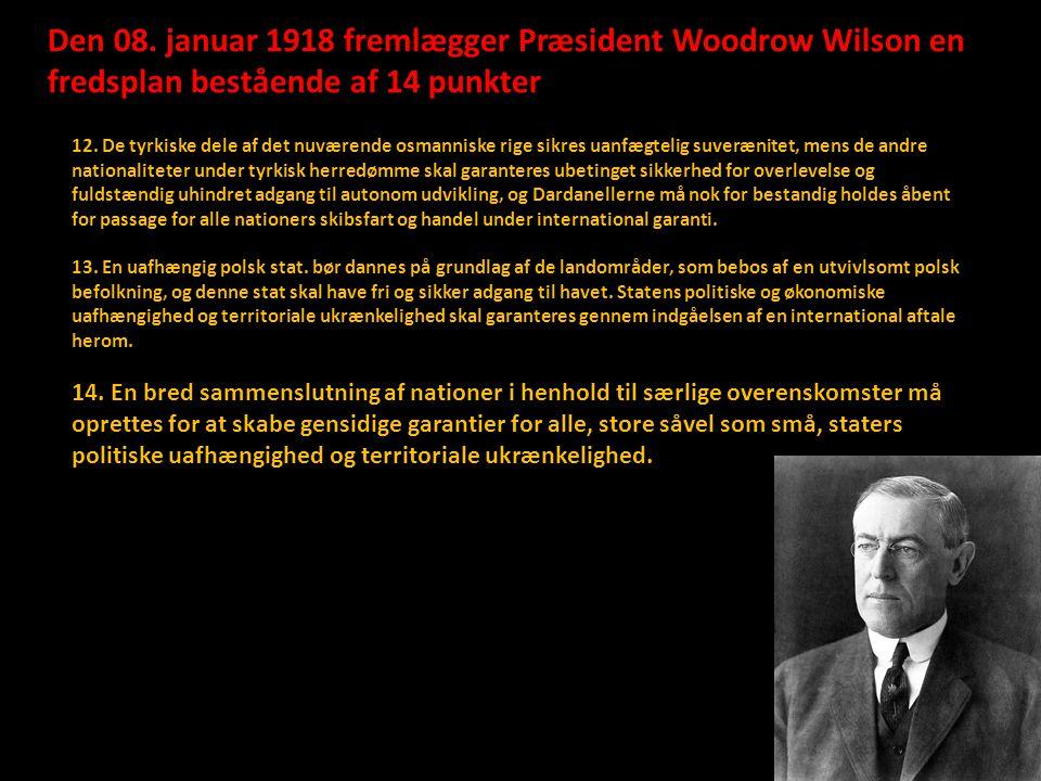 Den 08. januar 1918 fremlægger Præsident Woodrow Wilson en fredsplan bestående af 14 punkter