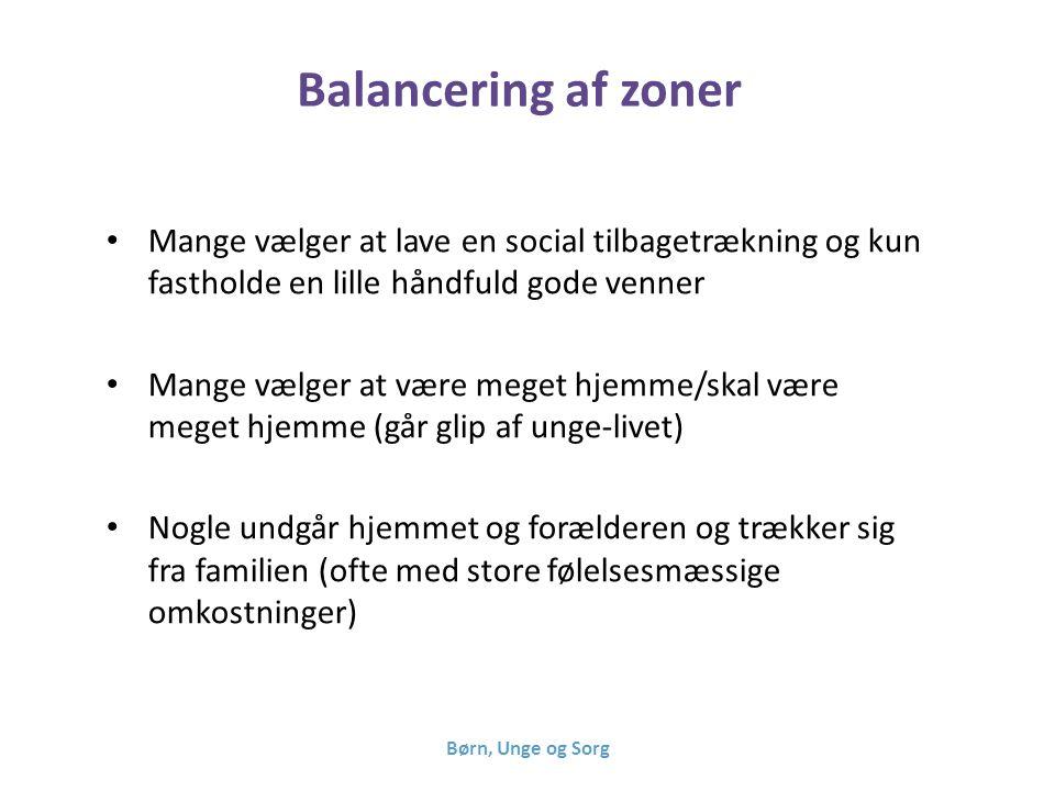 Balancering af zoner Mange vælger at lave en social tilbagetrækning og kun fastholde en lille håndfuld gode venner.