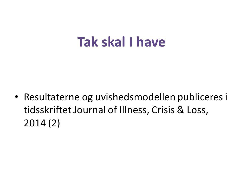 Tak skal I have Resultaterne og uvishedsmodellen publiceres i tidsskriftet Journal of Illness, Crisis & Loss, 2014 (2)