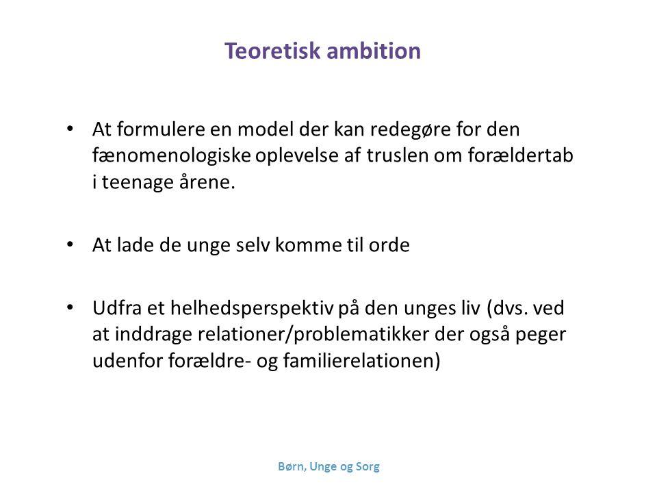 Teoretisk ambition At formulere en model der kan redegøre for den fænomenologiske oplevelse af truslen om forældertab i teenage årene.
