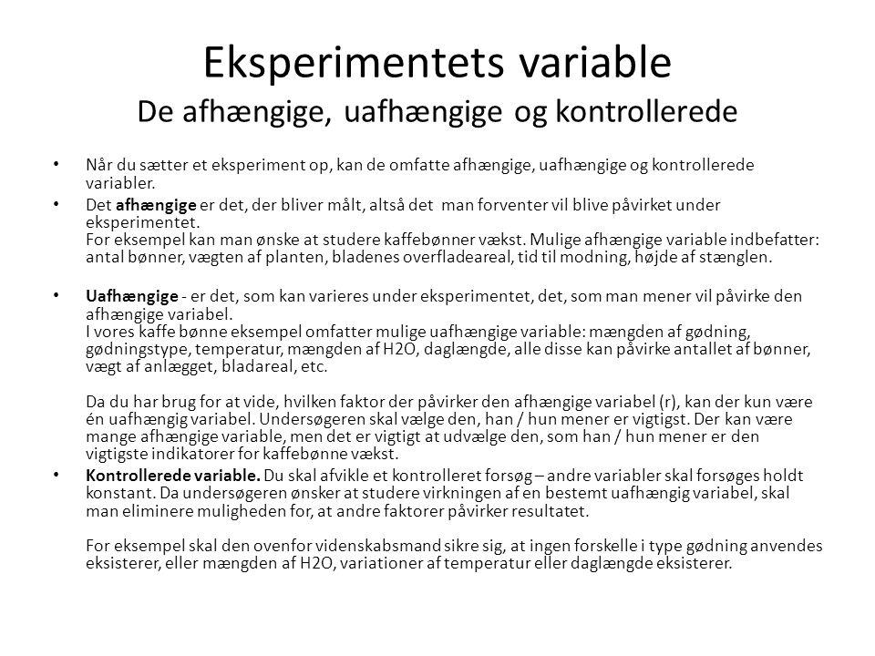 Eksperimentets variable De afhængige, uafhængige og kontrollerede