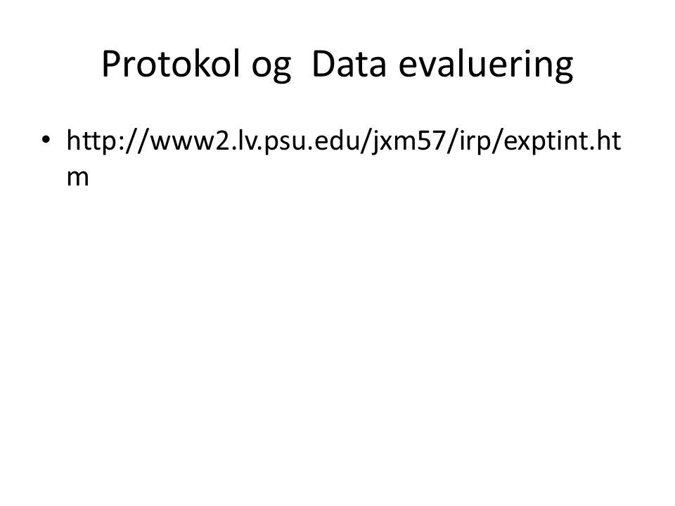 Protokol og Data evaluering