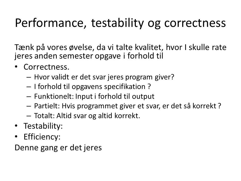 Performance, testability og correctness