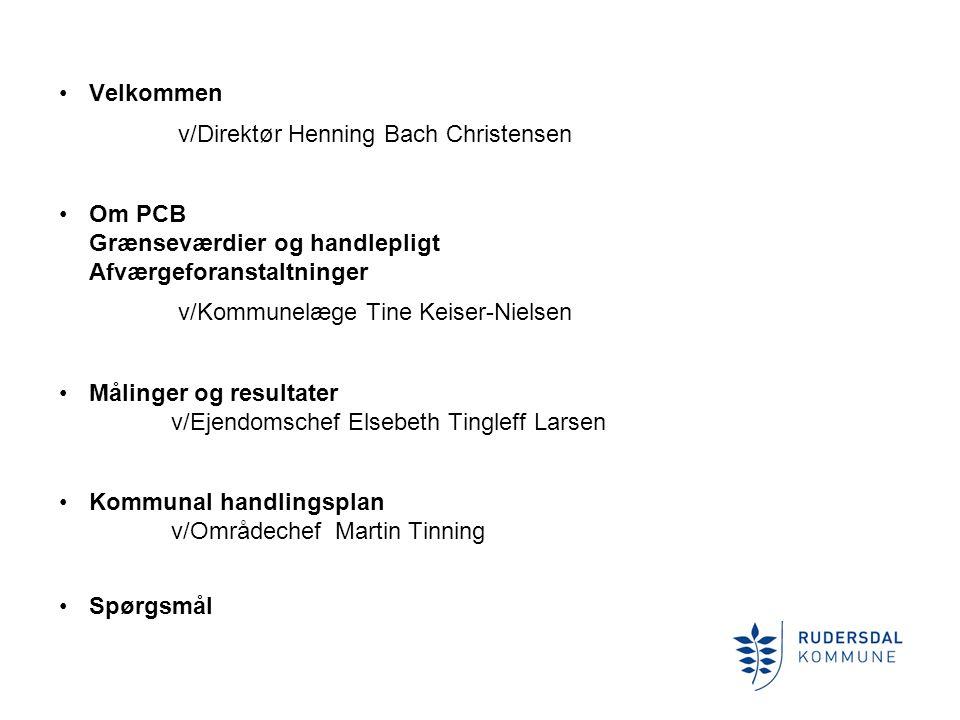 Velkommen v/Direktør Henning Bach Christensen. Om PCB Grænseværdier og handlepligt Afværgeforanstaltninger.