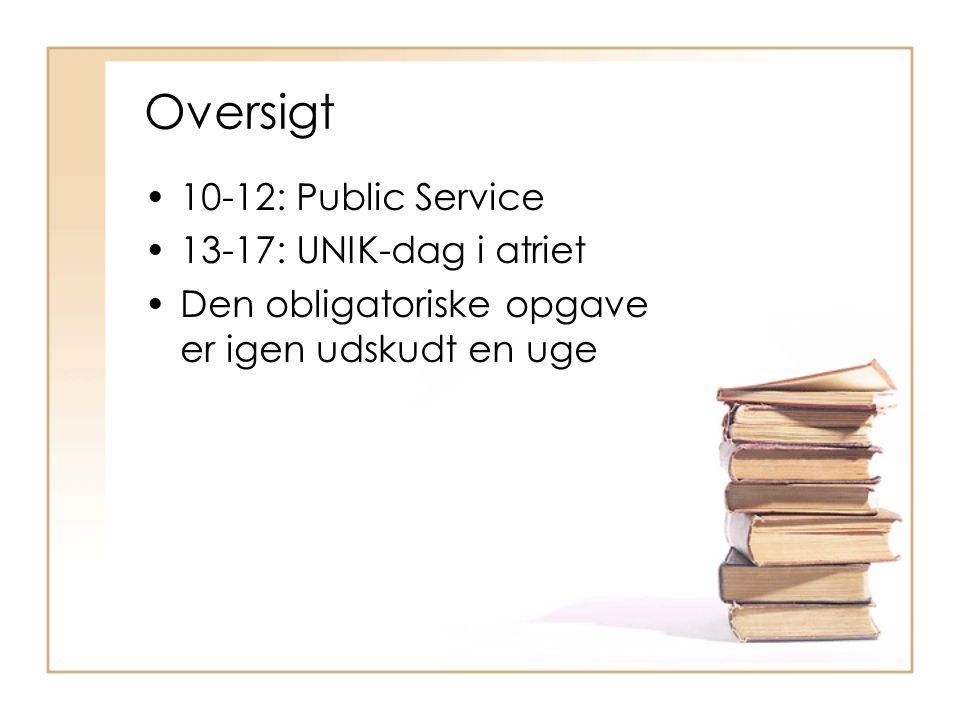 Oversigt 10-12: Public Service 13-17: UNIK-dag i atriet