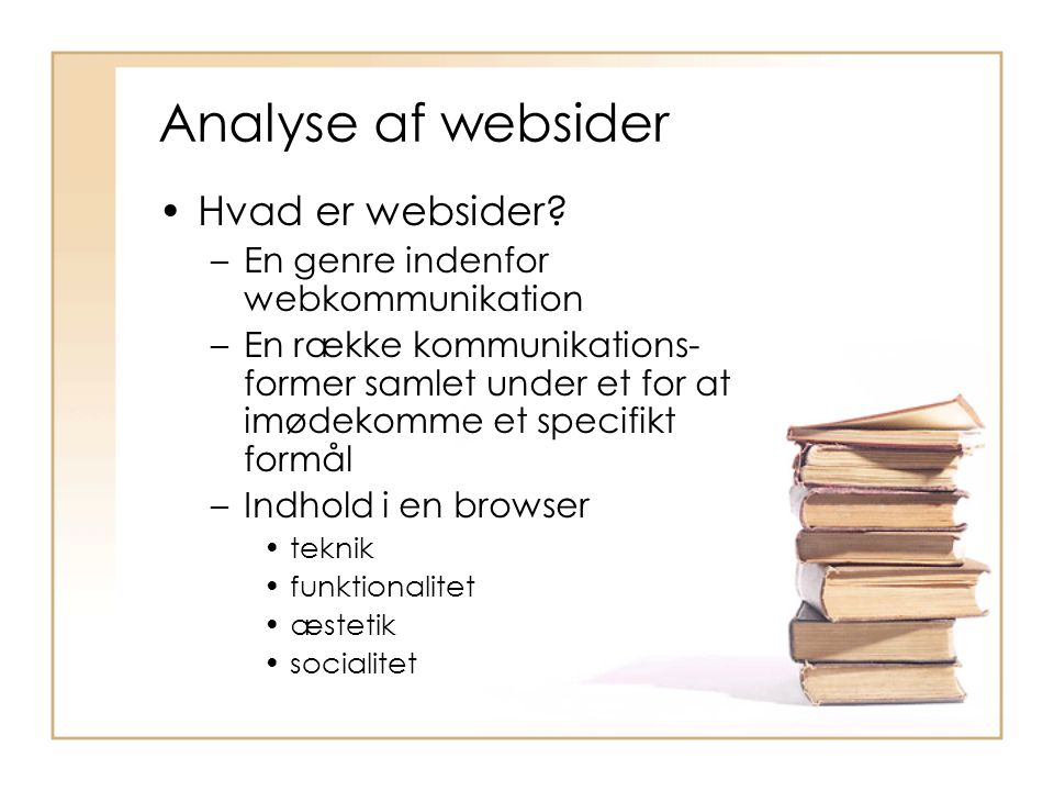 Analyse af websider Hvad er websider