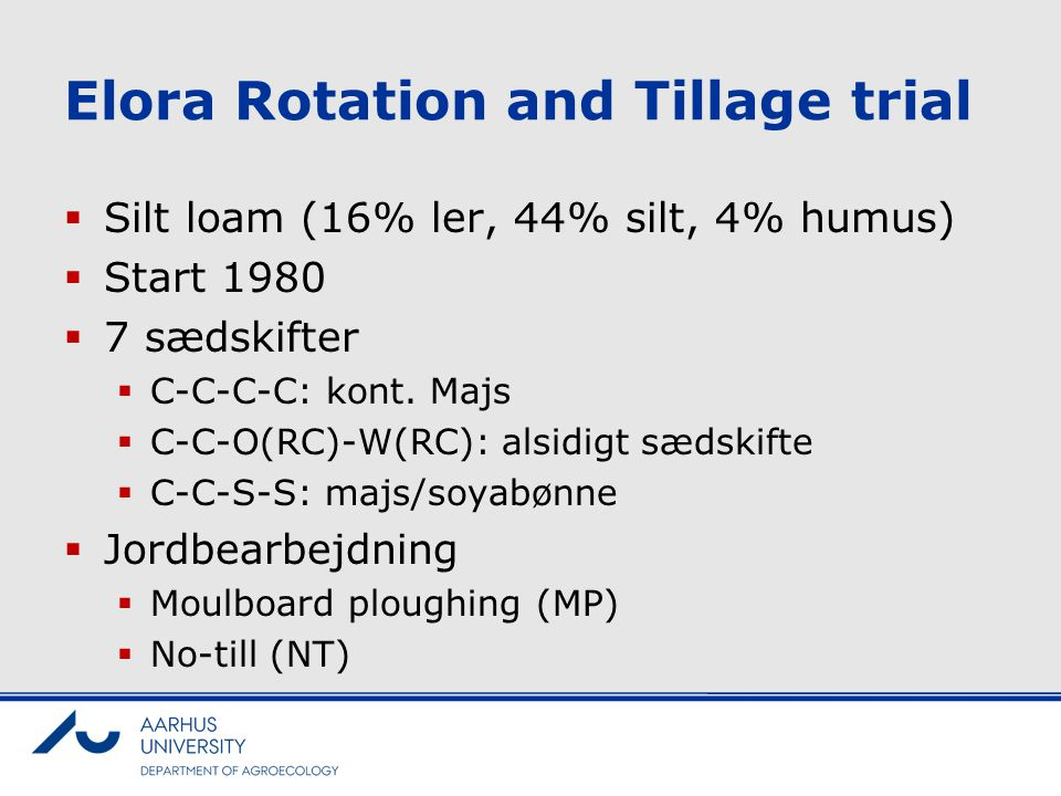 Elora Rotation and Tillage trial