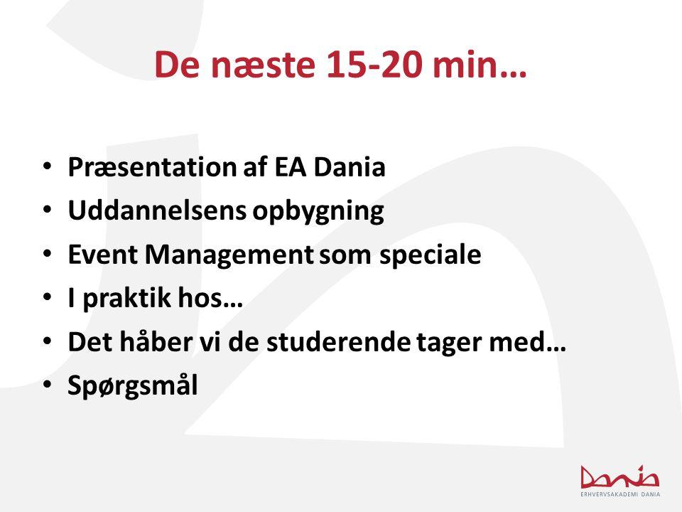 De næste 15-20 min… Præsentation af EA Dania Uddannelsens opbygning
