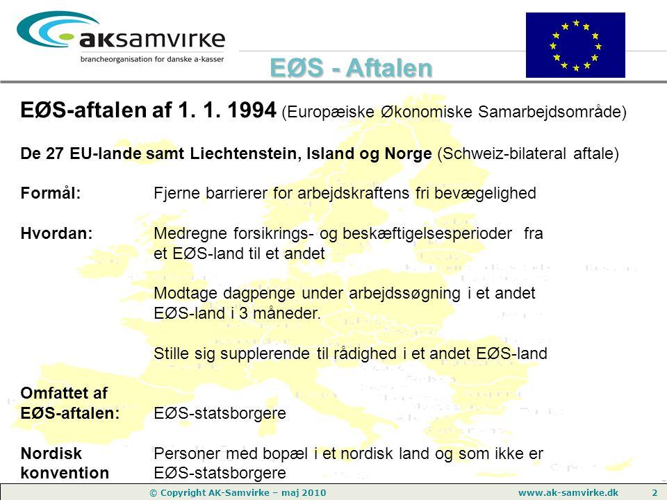 EØS-aftalen af 1. 1. 1994 (Europæiske Økonomiske Samarbejdsområde)