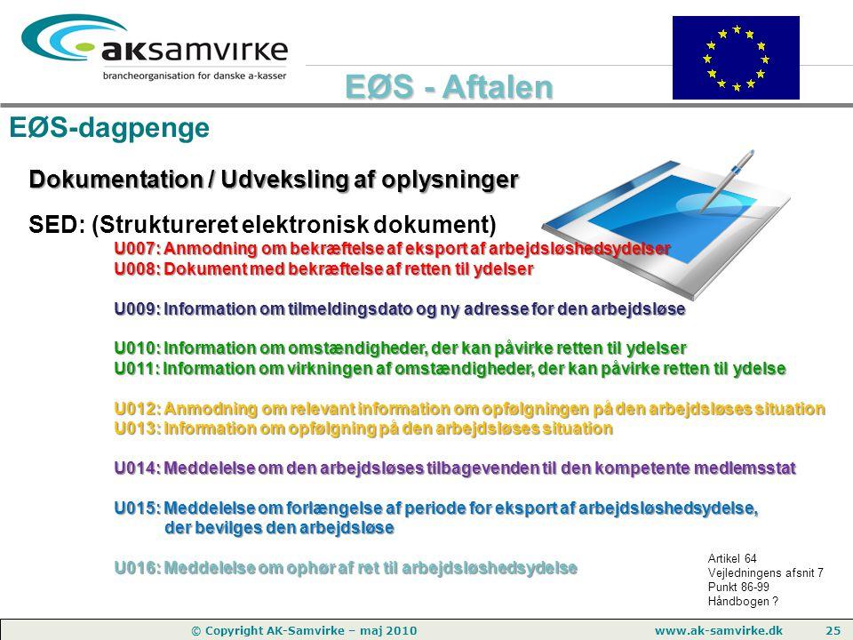 EØS-dagpenge Dokumentation / Udveksling af oplysninger