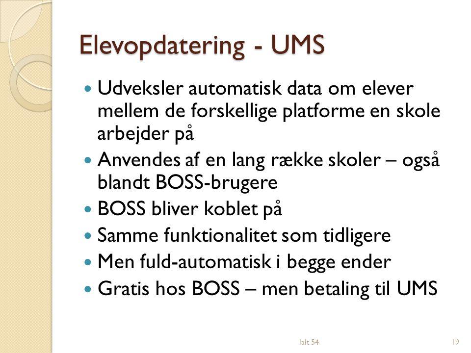 Elevopdatering - UMS Udveksler automatisk data om elever mellem de forskellige platforme en skole arbejder på.