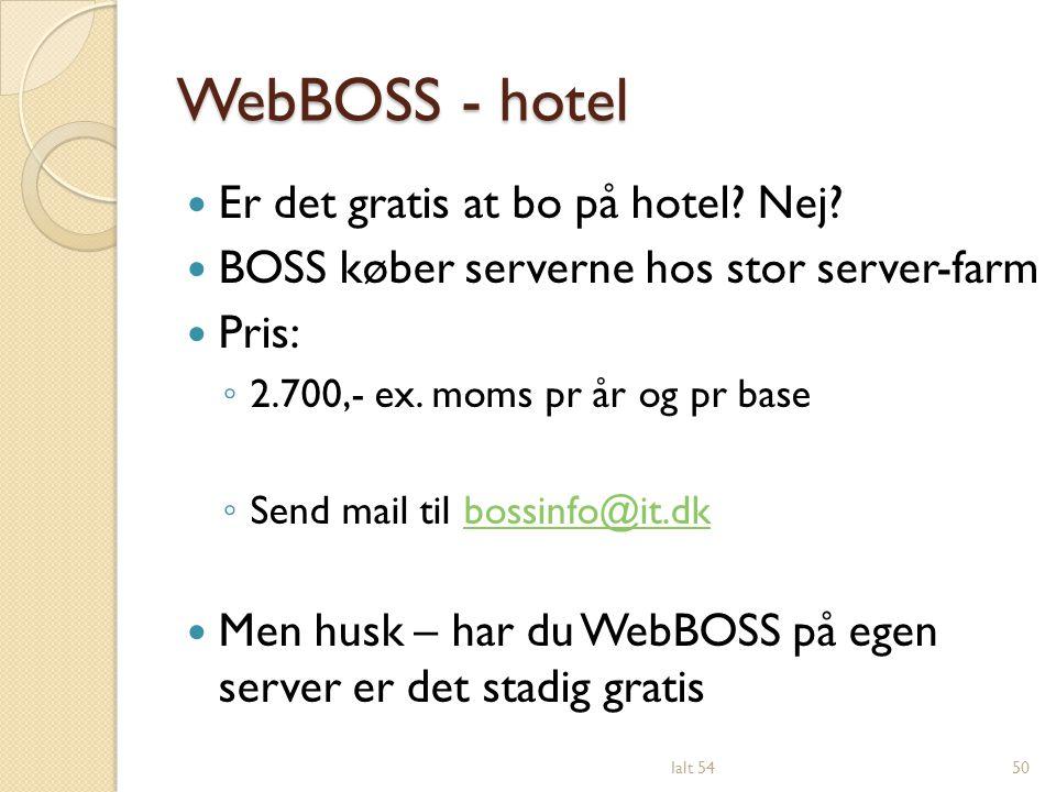 WebBOSS - hotel Er det gratis at bo på hotel Nej