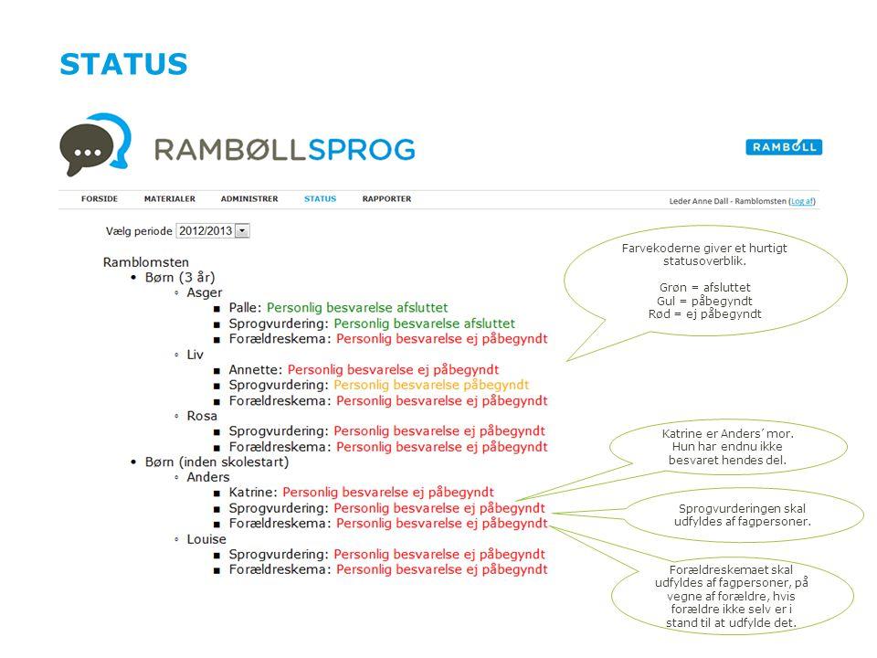 Status Farvekoderne giver et hurtigt statusoverblik. Grøn = afsluttet