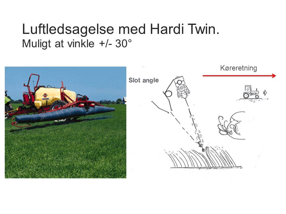 Luftledsagelse med Hardi Twin. Muligt at vinkle +/- 30°