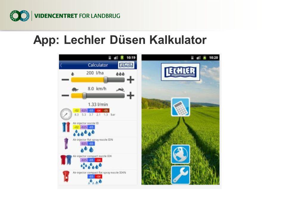 App: Lechler Düsen Kalkulator