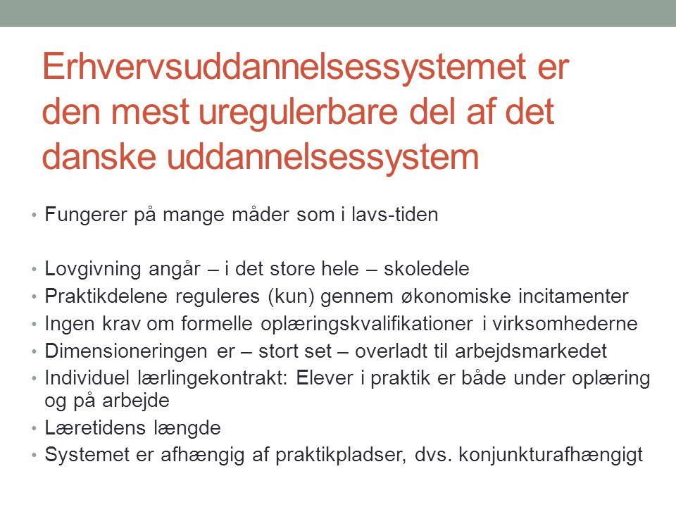 Erhvervsuddannelsessystemet er den mest uregulerbare del af det danske uddannelsessystem