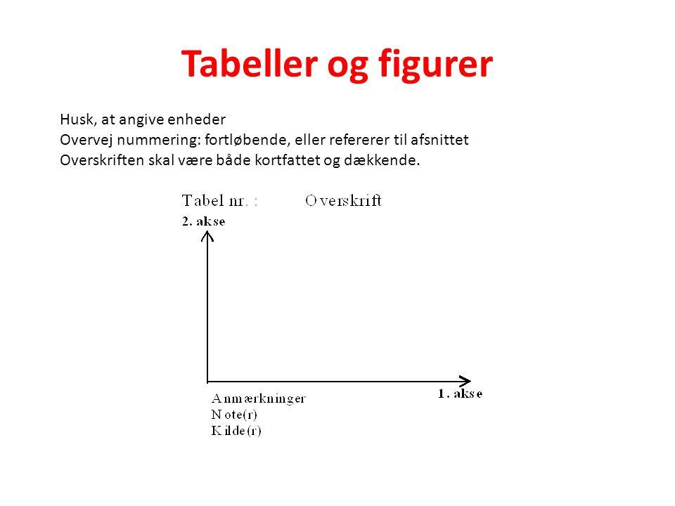 Tabeller og figurer Husk, at angive enheder