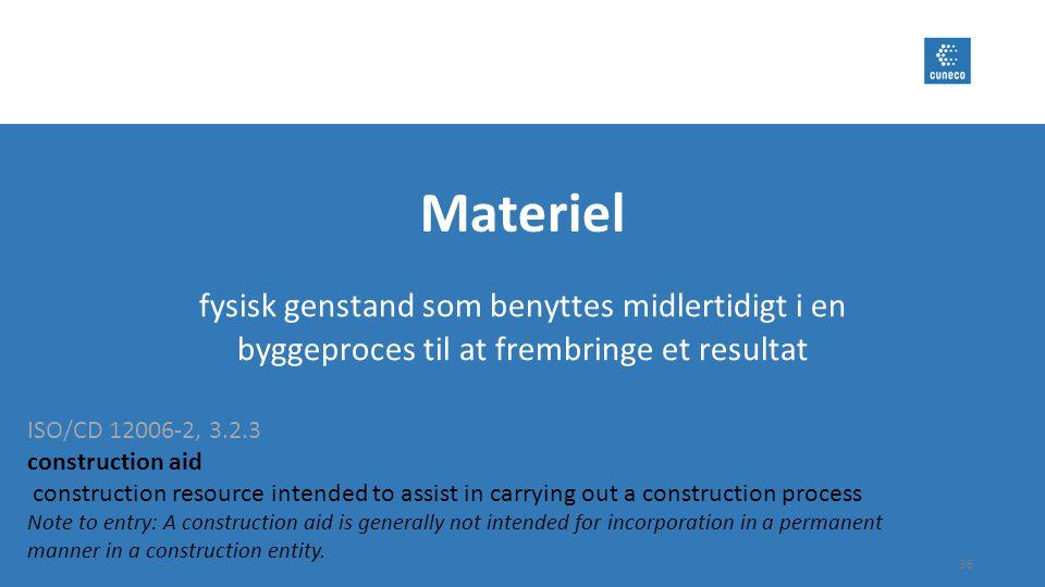 Materiel fysisk genstand som benyttes midlertidigt i en byggeproces til at frembringe et resultat. ISO/CD 12006-2, 3.2.3.