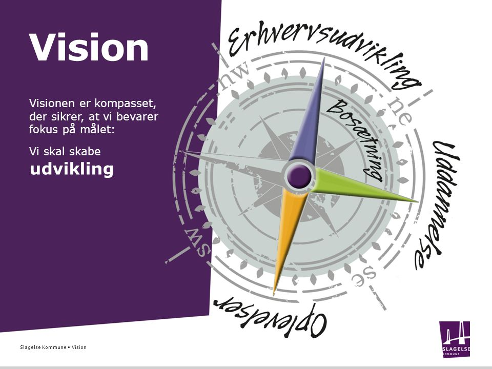 Vision udvikling Visionen er kompasset, der sikrer, at vi bevarer