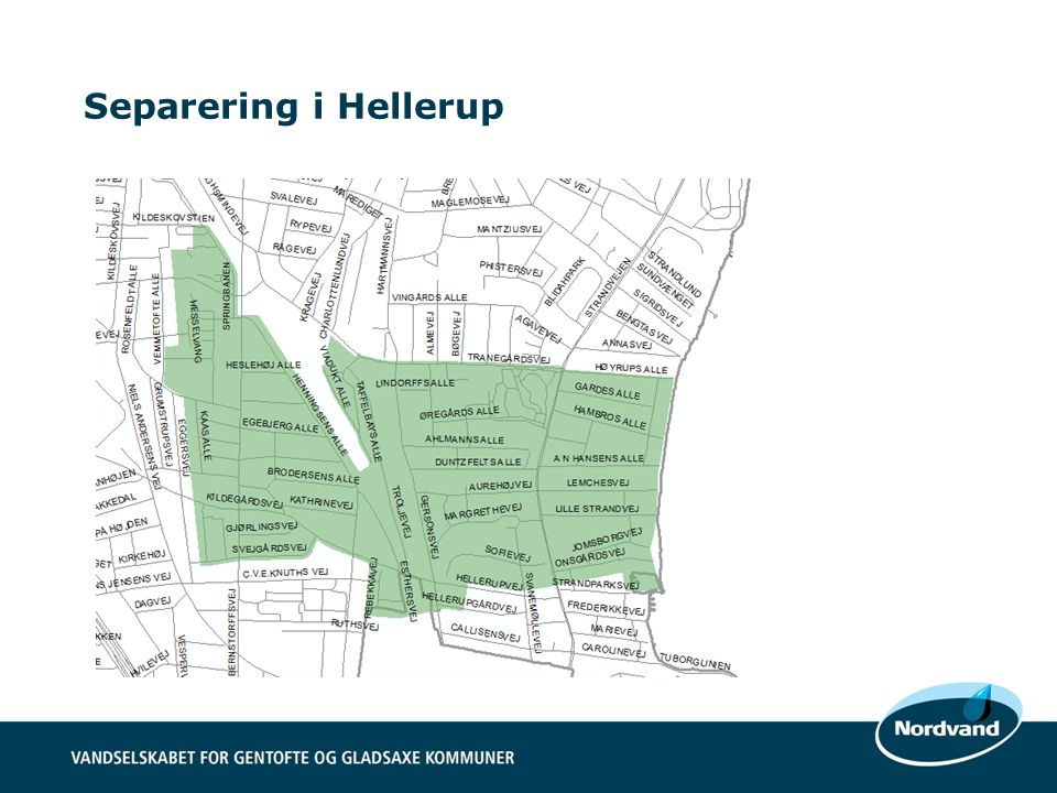 Separering i Hellerup Et rørsystem til både spildevand og regnvand pt. ->stor belastning af kloakkerne i regnvejr.