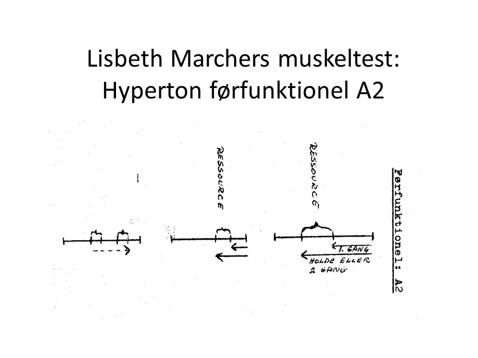 Lisbeth Marchers muskeltest: Hyperton førfunktionel A2
