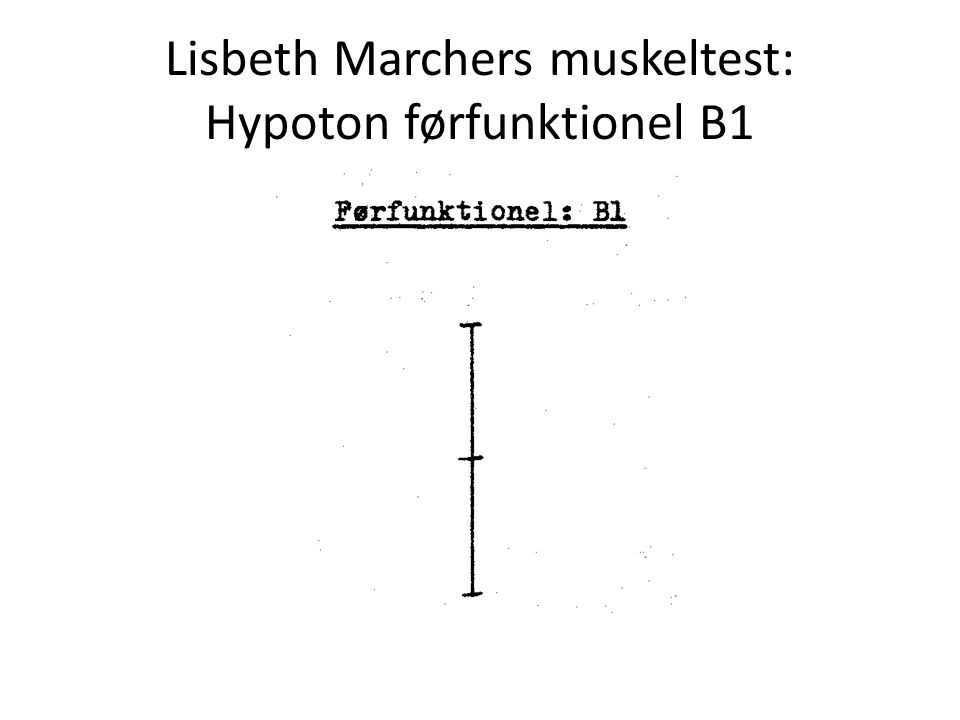 Lisbeth Marchers muskeltest: Hypoton førfunktionel B1