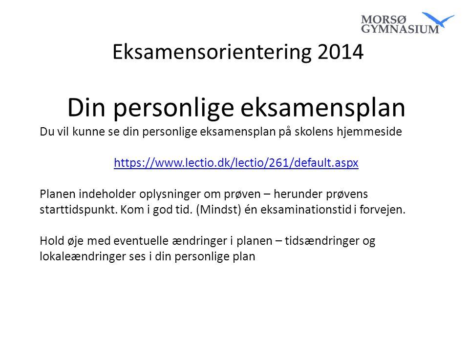 Din personlige eksamensplan