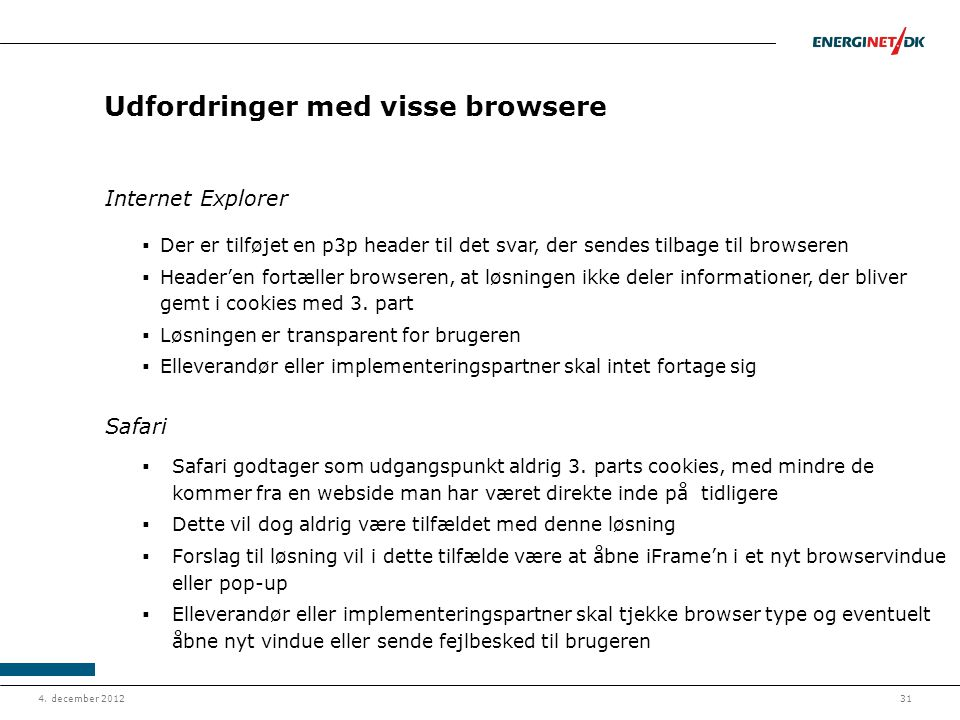 Udfordringer med visse browsere