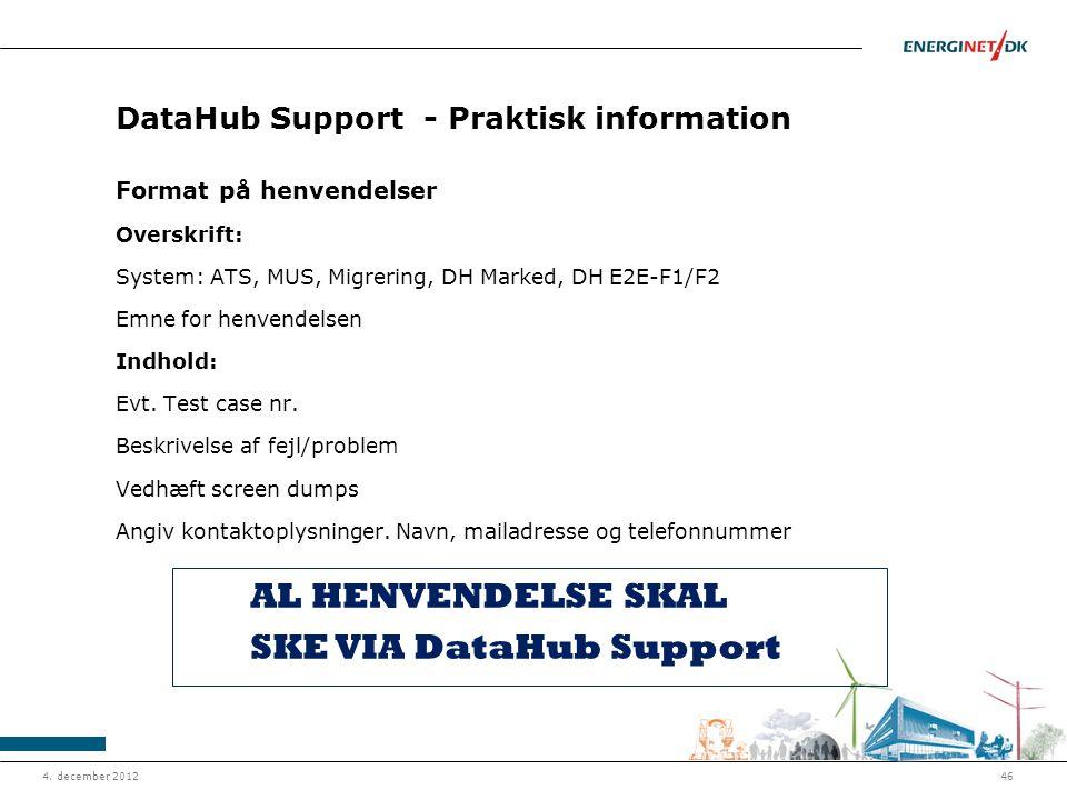 DataHub Support - Praktisk information