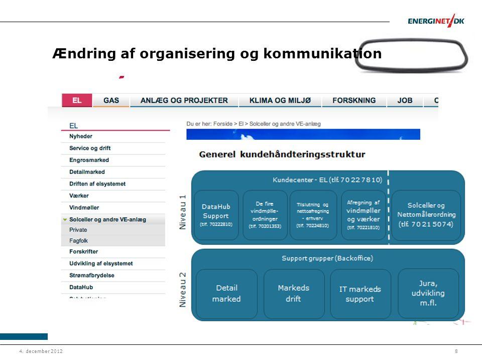 Ændring af organisering og kommunikation
