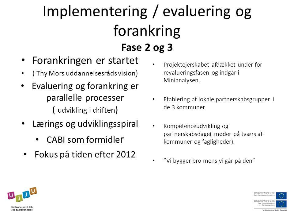 Implementering / evaluering og forankring Fase 2 og 3